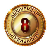 8 Years anniversary golden label. — Stock Vector