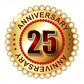 25 Years anniversary golden label. — Stock Vector