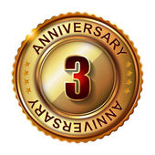 3 Years anniversary golden label. — Stock Vector