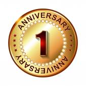 1 Years anniversary label — Stock Vector