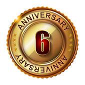 6 Years anniversary golden label. — Stock Vector