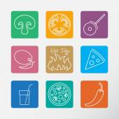 Icons set for Italian pizza. — Vector de stock
