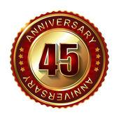 45 Years anniversary golden label. — Stock Vector