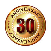 30 Years anniversary golden label. — Stock Vector