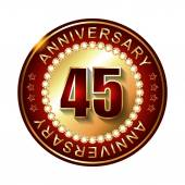 45 Years anniversary golden label. — Stock Vector