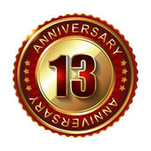 13 Years anniversary golden label. — Stock Vector