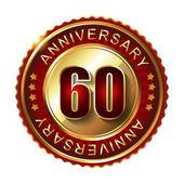 60 Years anniversary golden label. — Stock Vector