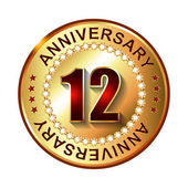 12 Years anniversary golden label. — Stock Vector