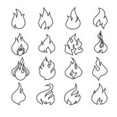 Fire flames, set icons. — Stock Vector