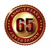 65 Years anniversary golden label. — Stock Vector