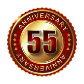 55 Years anniversary golden label. — Stock Vector