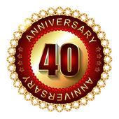 40 Years anniversary golden label. — Stock Vector