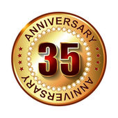 35 Years anniversary golden label. — Stock Vector