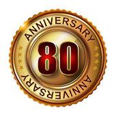 Rótulo dourado de aniversário de 80 anos. — Vetor de Stock