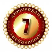 7 Years anniversary golden label. — Stock Vector