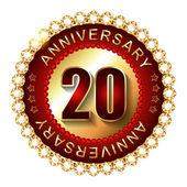 20 Years anniversary golden label. — Stock Vector