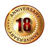 18 Years anniversary golden label. — Stock Vector