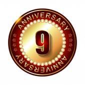 9 Years anniversary golden label. — Stock Vector