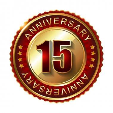 15 Years anniversary golden label.