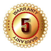 5 years warranty golden label — Vettoriale Stock