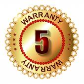 5 years warranty golden label — Vector de stock