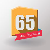 65 Anniversary label with ribbon — Stock Vector