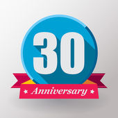30 Anniversary label with ribbon — Stock Vector