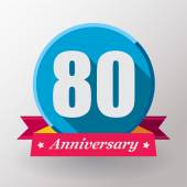 80 Anniversary label with ribbon — Stock Vector