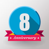 8 Anniversary label with ribbon — Stock Vector