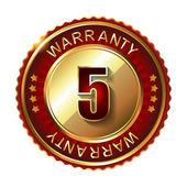 5 years warranty golden label — Stock Vector