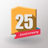25 Anniversary label with ribbon — Stock Vector