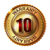 10 years warranty golden label — Stock Vector