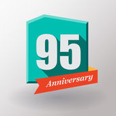 95 Anniversary label with ribbon — Stock Vector