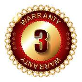 3 years warranty golden label — Stock Vector