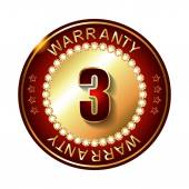 3 years warranty golden label — Vector de stock