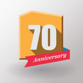 70 Anniversary label with ribbon — Stock Vector