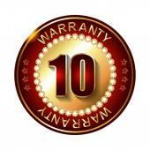 10 years warranty golden label — Stock Vector