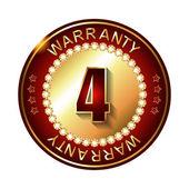4 years warranty golden label — Stock Vector