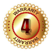 4 years warranty golden label — Vettoriale Stock