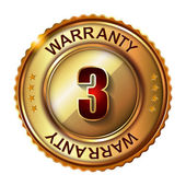 3 years warranty golden label — Stock Vector