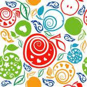 Seamless Pattern of beautiful apples — Stock Vector