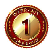 1 year warranty golden label — Stock Vector
