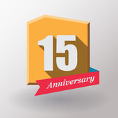 15 Anniversary label with ribbon — Stock Vector