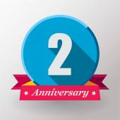 2 Anniversary label with ribbon — Stock Vector