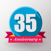 35 Anniversary label with ribbon — Stock Vector