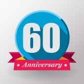 60 Anniversary label with ribbon — Stock Vector