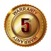 5 years warranty golden label — Stock Vector