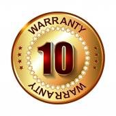 10 years warranty golden label — Vettoriale Stock