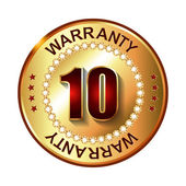 10 years warranty golden label — Vector de stock