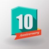 10 årsjubileum etikett med band — Stockvektor